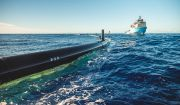 "Das System 001, ""Wilson"", von The Ocean Cleanup im November 2018"